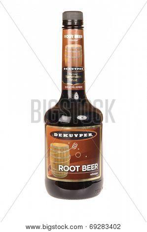 Hayward, CA - July 29, 2014: 750 ml bottle of DeKuyper Root Beer, made by Schweppes