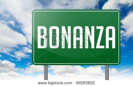 Bonanza on Green Highway Signpost.