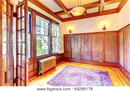 Empty Office Room With Coffered Ceiling