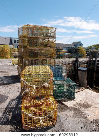 Lobster Traps In Fishing Village