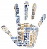 Word cloud illustration related to humanitarian aid or humanitarianism poster