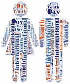 Word cloud illustration related to International Youth Day poster