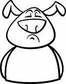 Black and White Cartoon Illustration of Funny Dog Expressing Proud Mood or Emotion for Coloring Book poster