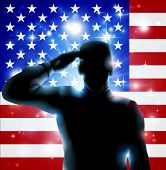 Patriotic soldier or veteran saluting in front of an American flag Fourth July Verterans Day or Independence Day illustration poster