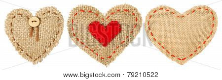 Heart Shape Patch Object With Stitches Seam, Sackcloth Decorative Fabric Isolated White Background