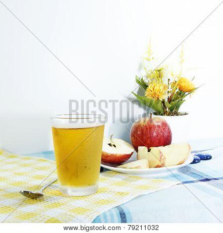 Cooled Apple Juice Set On Tablemat