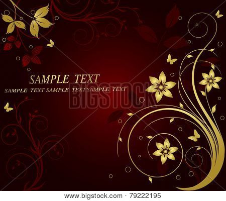 Golden floral vector background