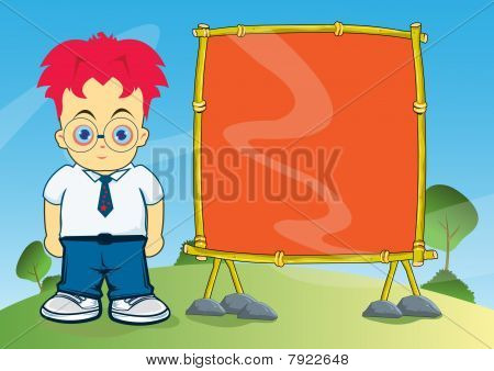 Young Boy With Empty Wooden Signage