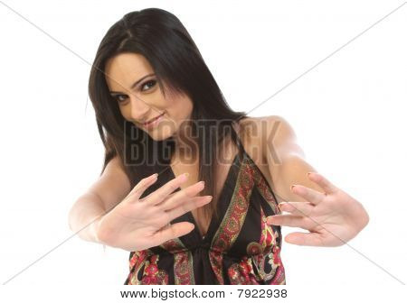 Young woman saying no gesture
