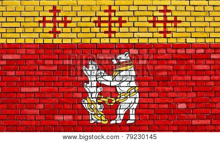 flag of Warwickshire painted on brick wall poster