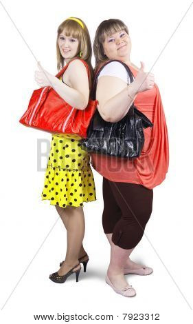 Two happy casual girls with handbag over white background poster