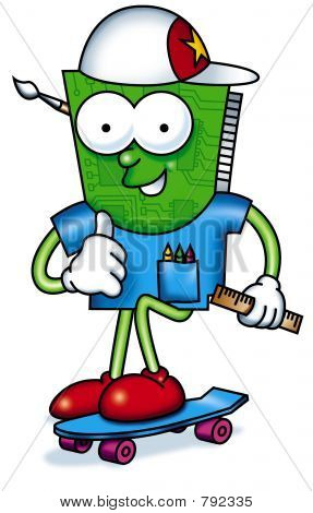 memory board cartoon character