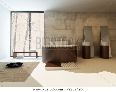 3D Rendering of Modern bathroom interior with a circular brown suite with freestanding bathtub and hand basins against a travertine tiled wall with a large view window in an upmarket home