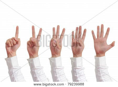 Number Hand Gesture Isolated on White