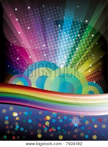 Rainbow Disco Background with circle and stars
