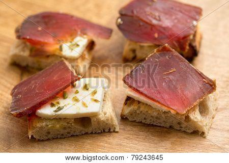 Traditional spanish dish(Tapas)- Salty Dry Tuna (Muxama)