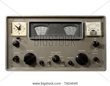 Vintage shortwave radio communications receiver over white