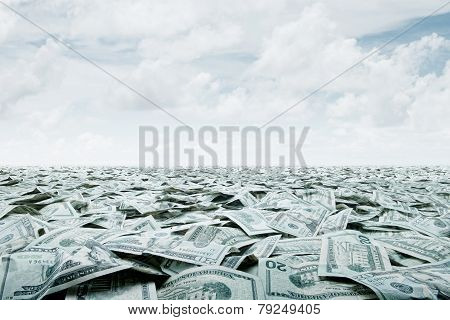 close up view of cash money dollars bills in amount poster