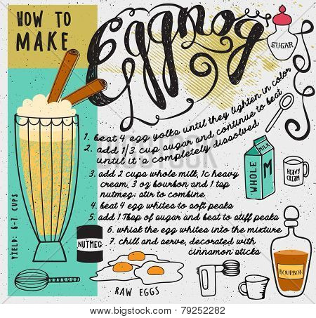 How to Make Eggnog - Pictorial recipe for the favorite winter holidays cocktail, with bourbon, eggs, milk, sugar, cream and nutmeg, and necessary tools for the home made eggnog, hand drawn