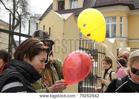 Political Activists Distribute The Balloons Symbolizing The Arrested Participants Of Pussy Riot