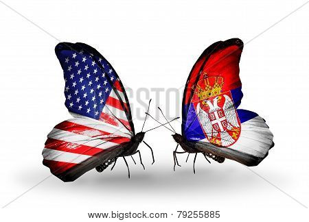 Two Butterflies With Flags On Wings As Symbol Of Relations Usa And Serbia