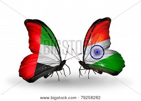 Two Butterflies With Flags On Wings As Symbol Of Relations Uae And India