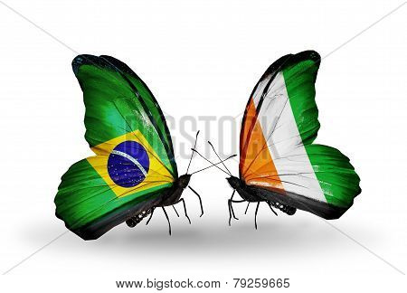 Two Butterflies With Flags On Wings As Symbol Of Relations Brazil And Cote Divoire