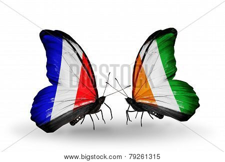 Two Butterflies With Flags On Wings As Symbol Of Relations France And Cote Divoire