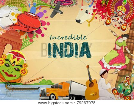 Incredible India, a glance of Indian religion culture with modern transportation on grungy background, can be used as poster or banner design.