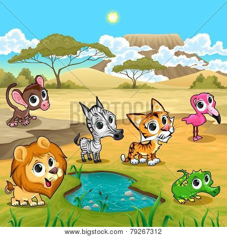 Set of funny wild animals in the nature. Vector and cartoon illustration.