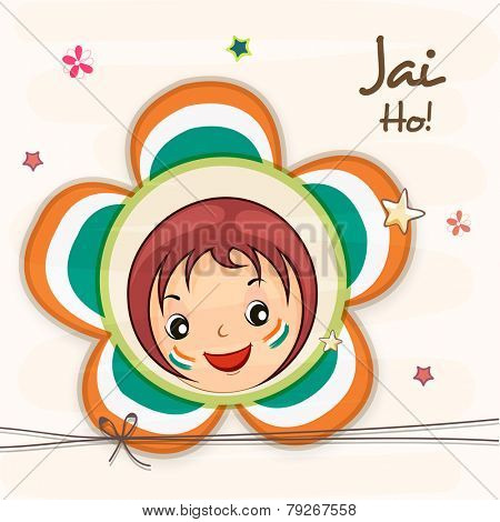 Cute little girl face in national tricolor flower with Hindi text Jai Ho (Let the victory prevail) for Indian Republic Day celebration.
