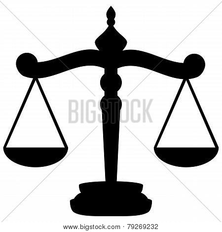 black Scales of Justice on a white background vector poster