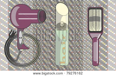 Vector Images hair hairspray, a comb for hair care.