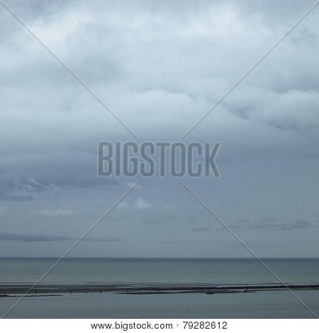 Gray Ocean And Sky