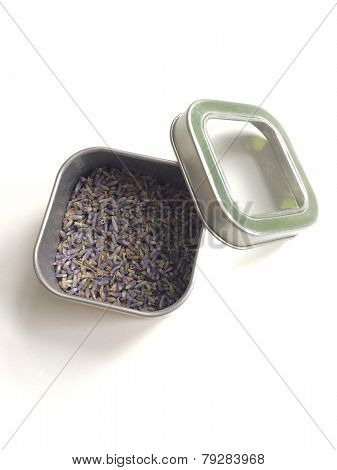 Lavender Buds in a metal tin