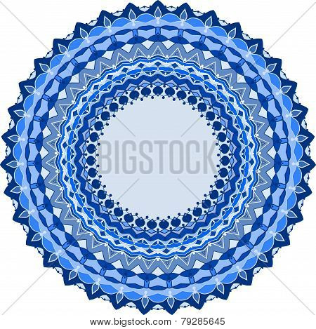 Bright Spectral Blue Colored Hand-drawing Ornamental Abstract Vector Background For Use In Design