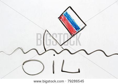 Russian Ship Sinking As A Symbol Of Russian Economy Falling Down.