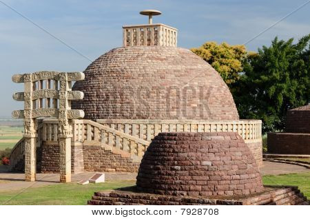 Ancient Stupa in Sanchi Madhya Pradesh India. Stupa nr 3 is northeast of the Great Stupa and similar in design though smaller poster