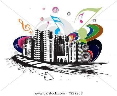 urban grunge city techno music event background for music flayers