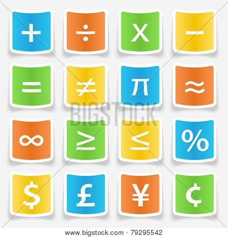 Math symbol stickers web buttons