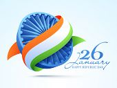 3D Ashoka Wheel covered by national tricolor ribbon for 26 January, Happy Indian Republic Day celebration. poster