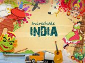Incredible India, a glance of Indian religion culture with modern transportation on grungy background, can be used as poster or banner design. poster