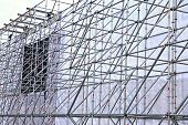 Background of the construction of the aluminum tubes scaffolding poster