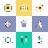 Science experiment and research analysis chemistry tools biology equipment atom physics and molecule symbol. Unusual line icons set flat design abstract pictogram vector illustration concept. poster