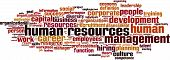 Human resources word cloud concept isolated on white poster