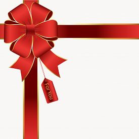 Red And Gold Silk Bow And Ribbon With A Gift Tag