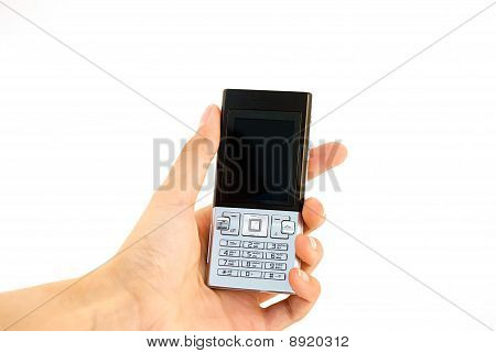 Mobile phone in hand isolated white. Silver phone. poster