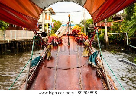 Trip through Bangkok canals down the Chao Phraya river on longtail boat poster