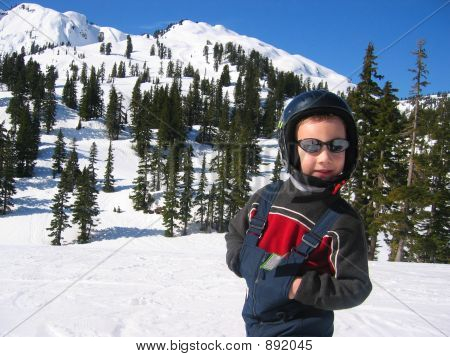 Boy Spring Skiing