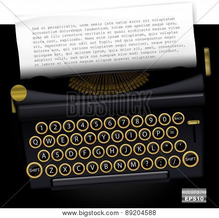 Vector Typewritter With List Paper For Text. Eps10.
